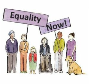 An illustration of 6 different disabled people, holding purple banners which reads 'Equality Now!'