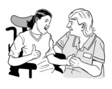 illustration of a disabled person and a health worker holding their hand.