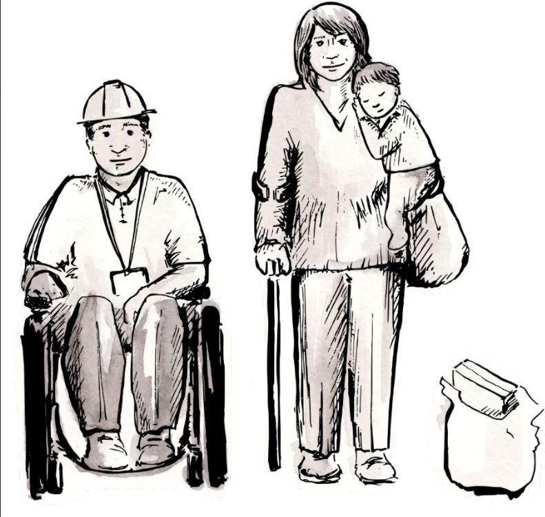 Wheelchair user beside a woman who has a baby in her arms and a stick in the other. A bag of shopping is beside her
